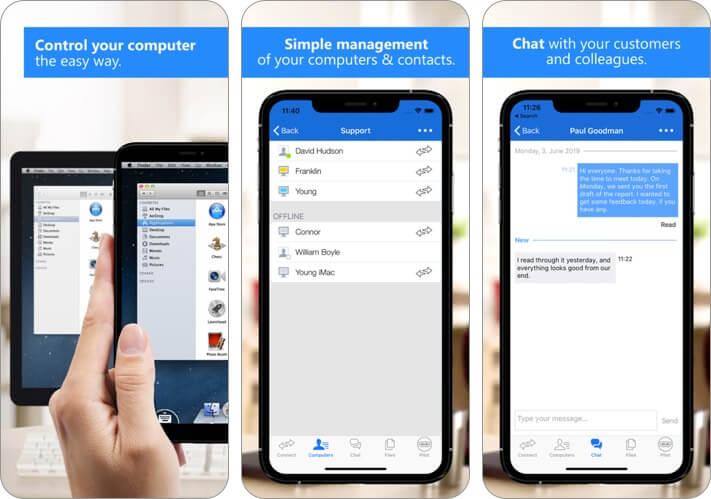 teamviewer remote desktop iphone and ipad app screenshot