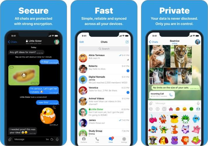 Telegram iPhone App WhatsApp Alternative Screenshot