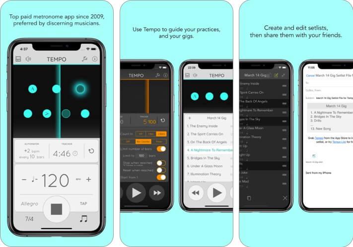 Скриншот приложения для обучения музыке в темпе