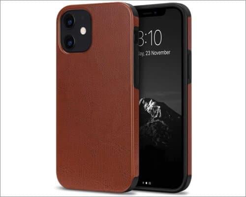 TENDLIN Hybrid PU Leather Cover for iPhone 12 Mini