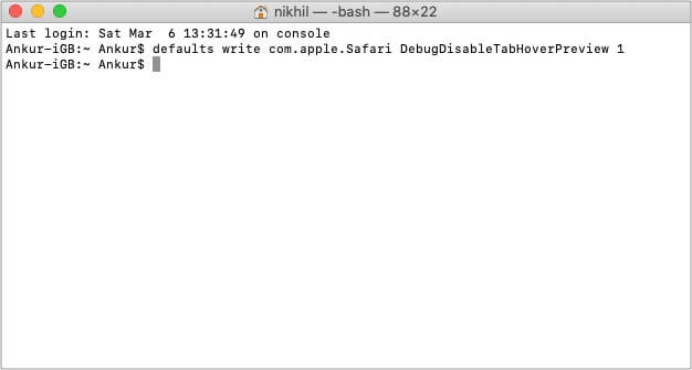 Terminal command to disable Safari Tab Preview in Mac
