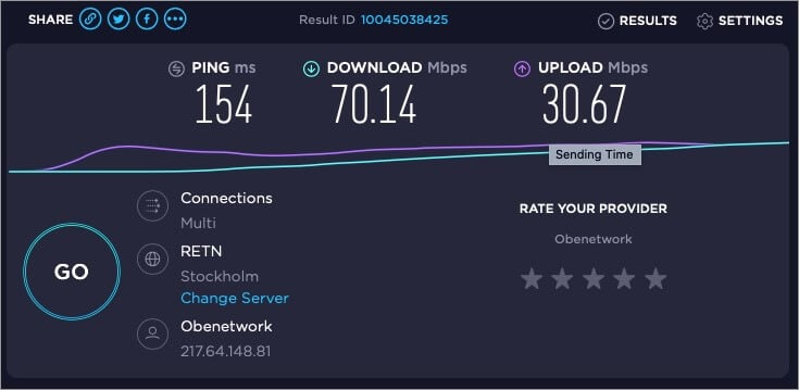 testing speed of internet with openvpn and multihop protocol