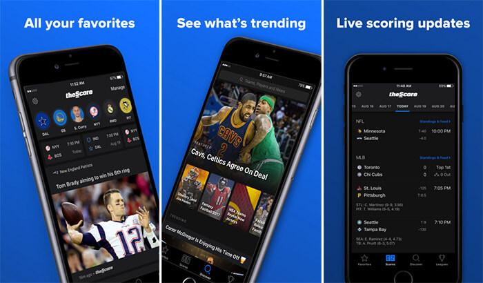 theScore iPhone and iPad NFL App Screenshot
