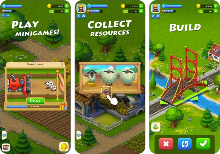 township iphone and ipad city building game screenshot