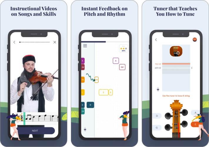 Скриншот приложения для обучения скрипке трала