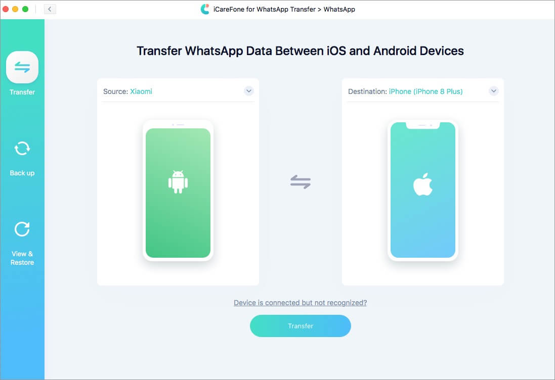 transfer whatsapp data between ios and android devices using icarefone software