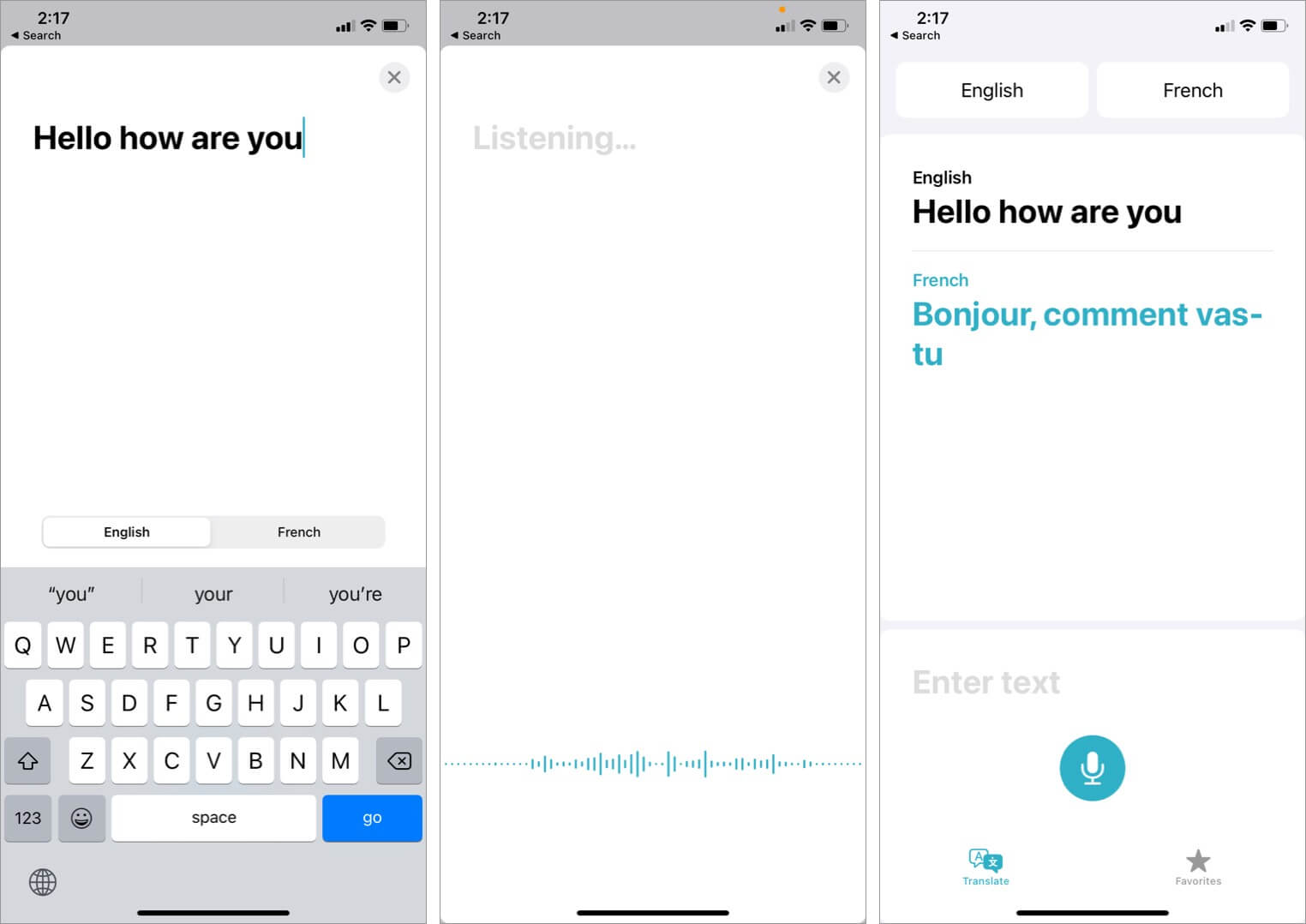 translate text using translate app in ios 14