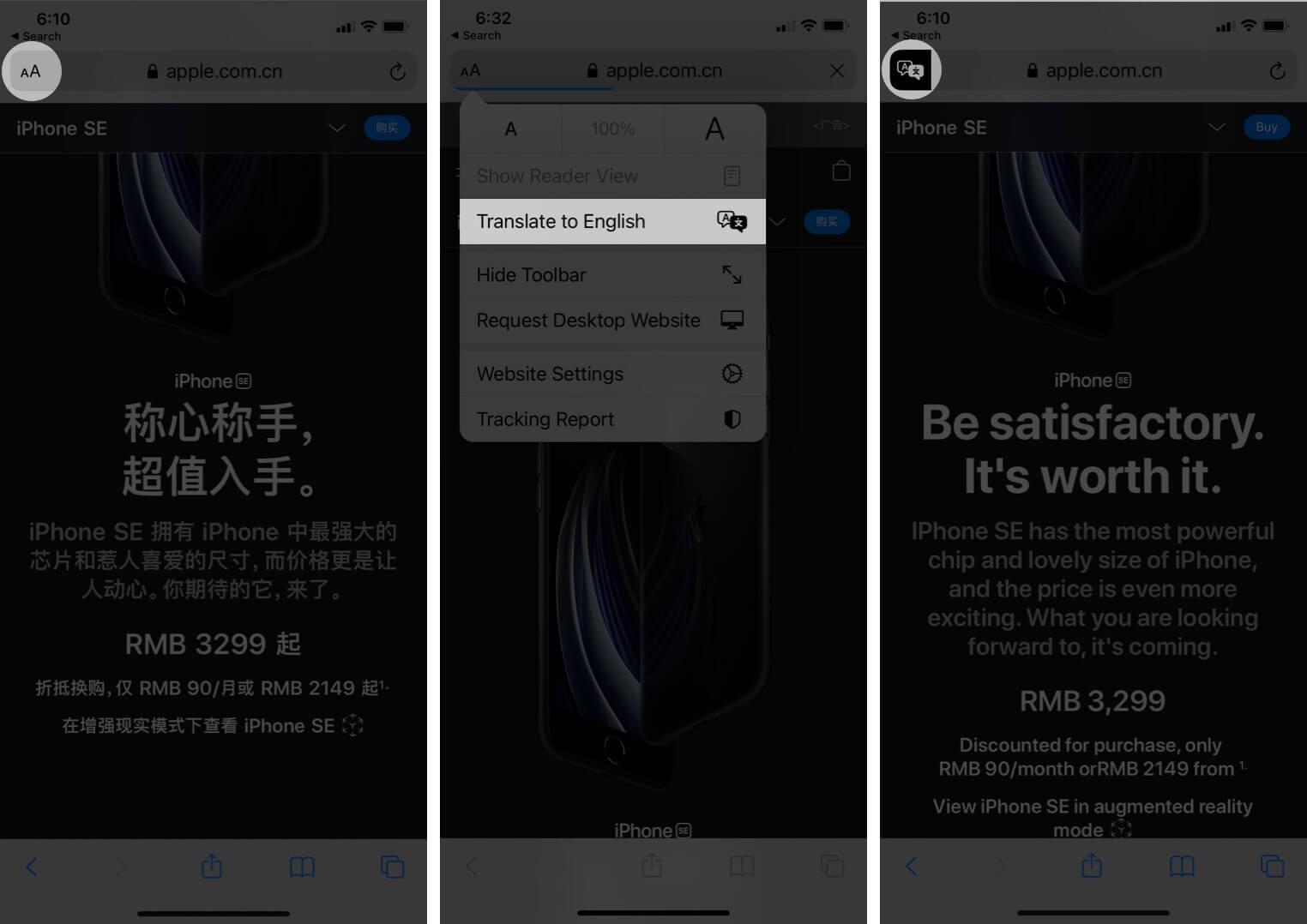 translate webpages in ios 14 safari on iphone