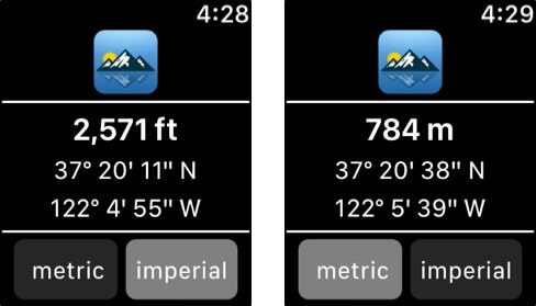 Travel Altimeter and Elevation Apple Watch App Screenshot