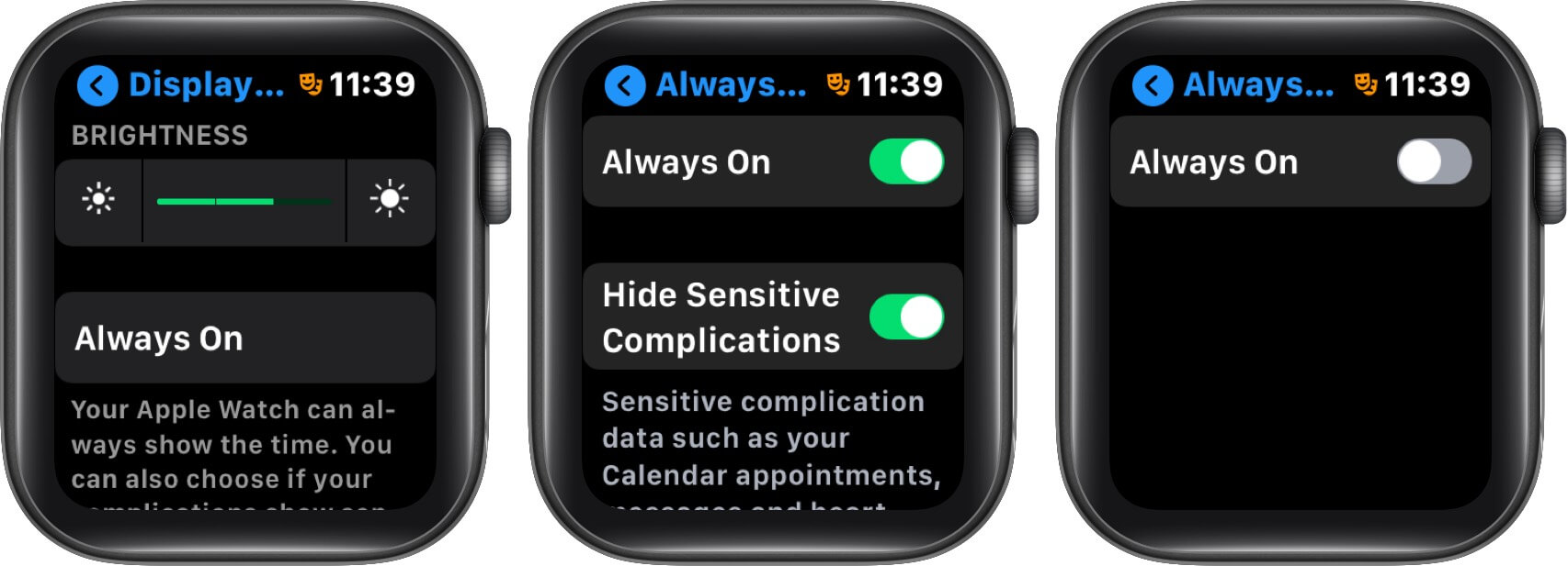turn off always on display on apple watch