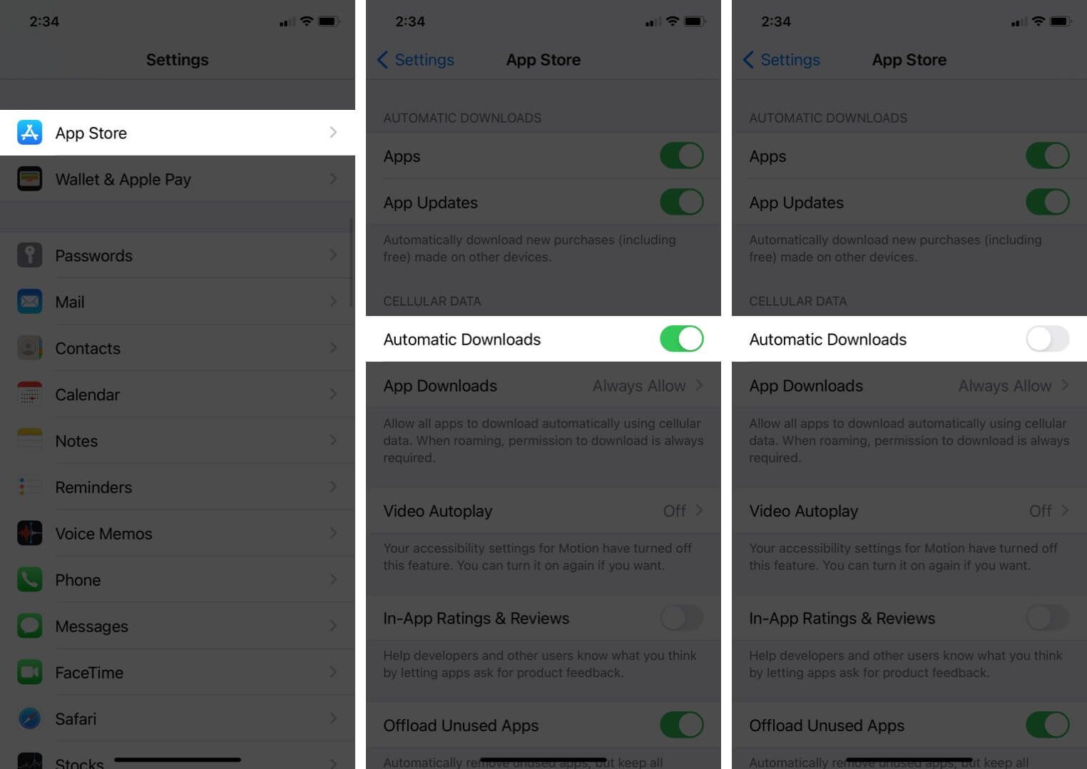 turn off automatic downloads for app store in iphone settings