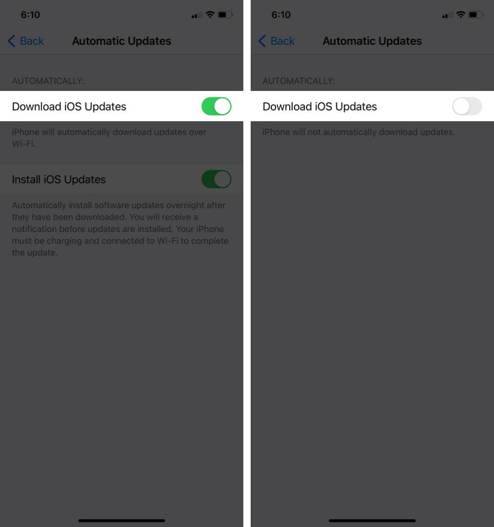 turn off download ios updates on iphone