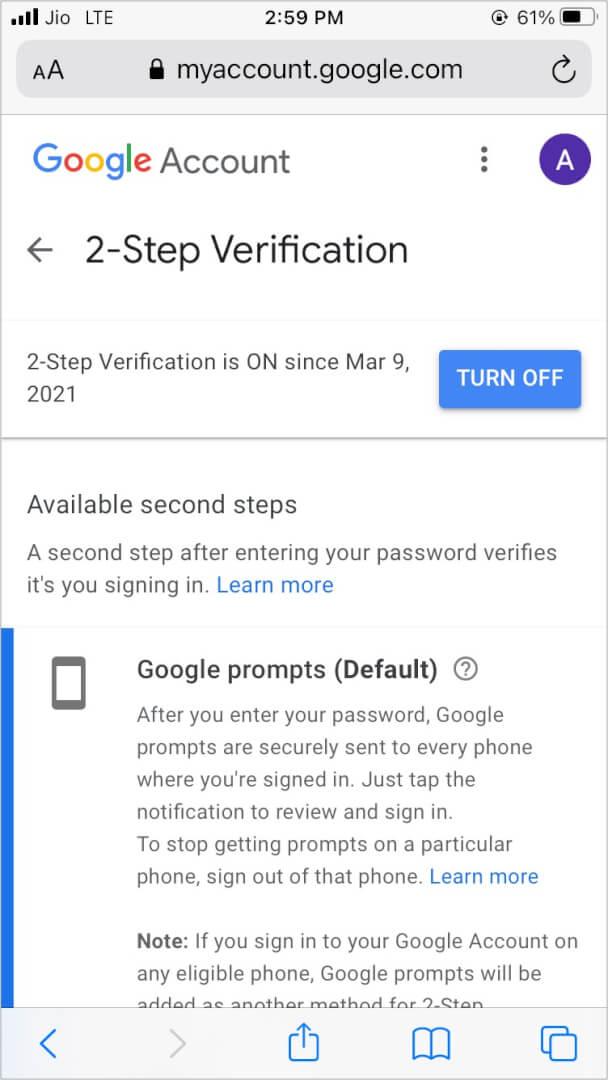 Turn off Google 2-Step Verification
