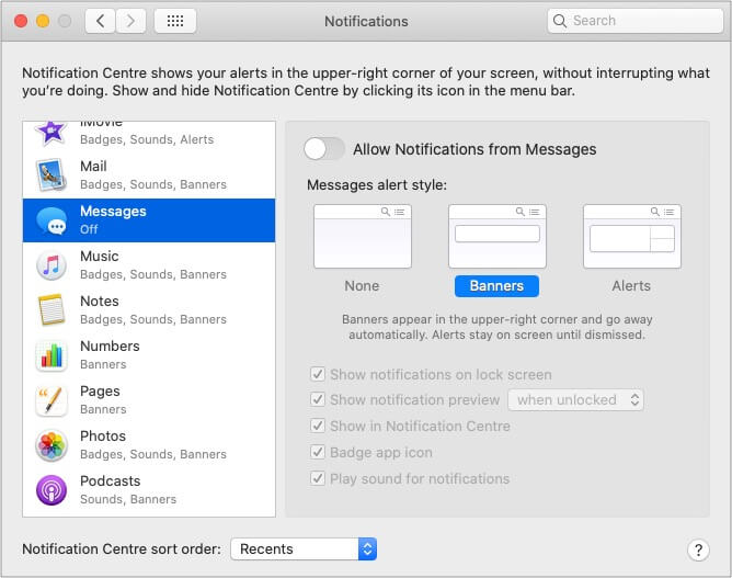 Turn off iMessage Notifications on Mac