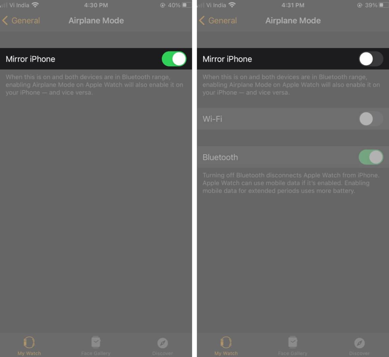 Turn Off Mirror iPhone in Watch App