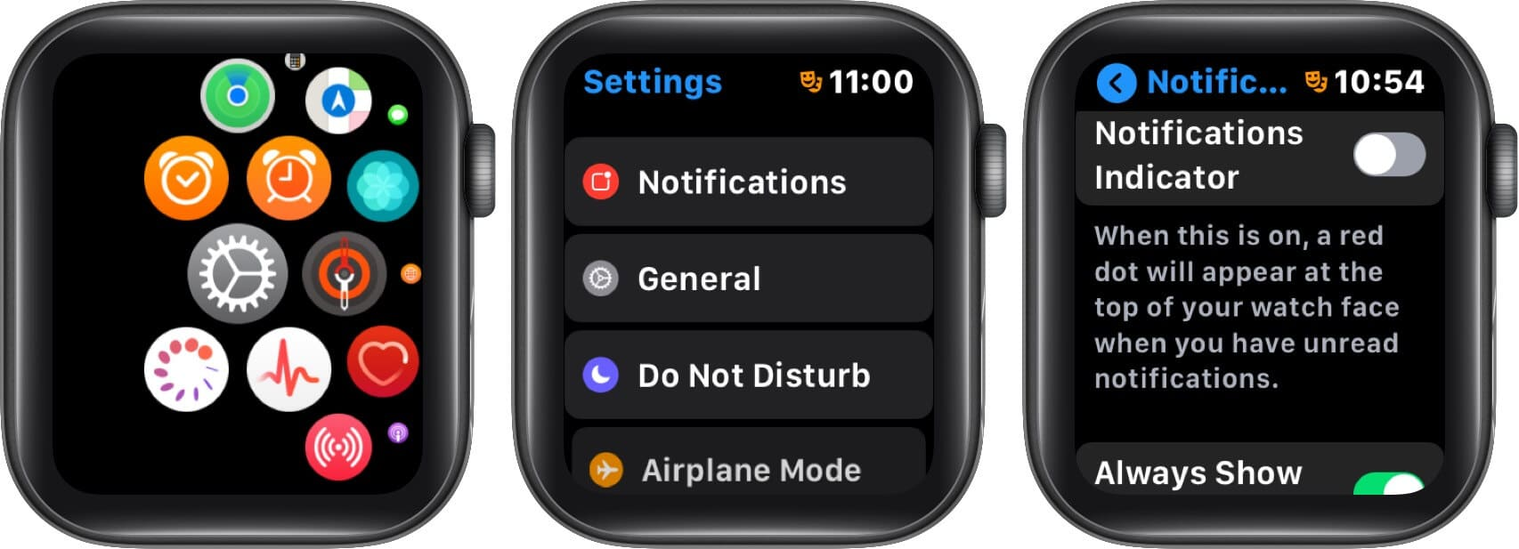 turn off notifications to remove red dot on apple watch