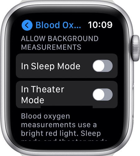 turn off or on background measurements for blood oxygen on apple watch 6