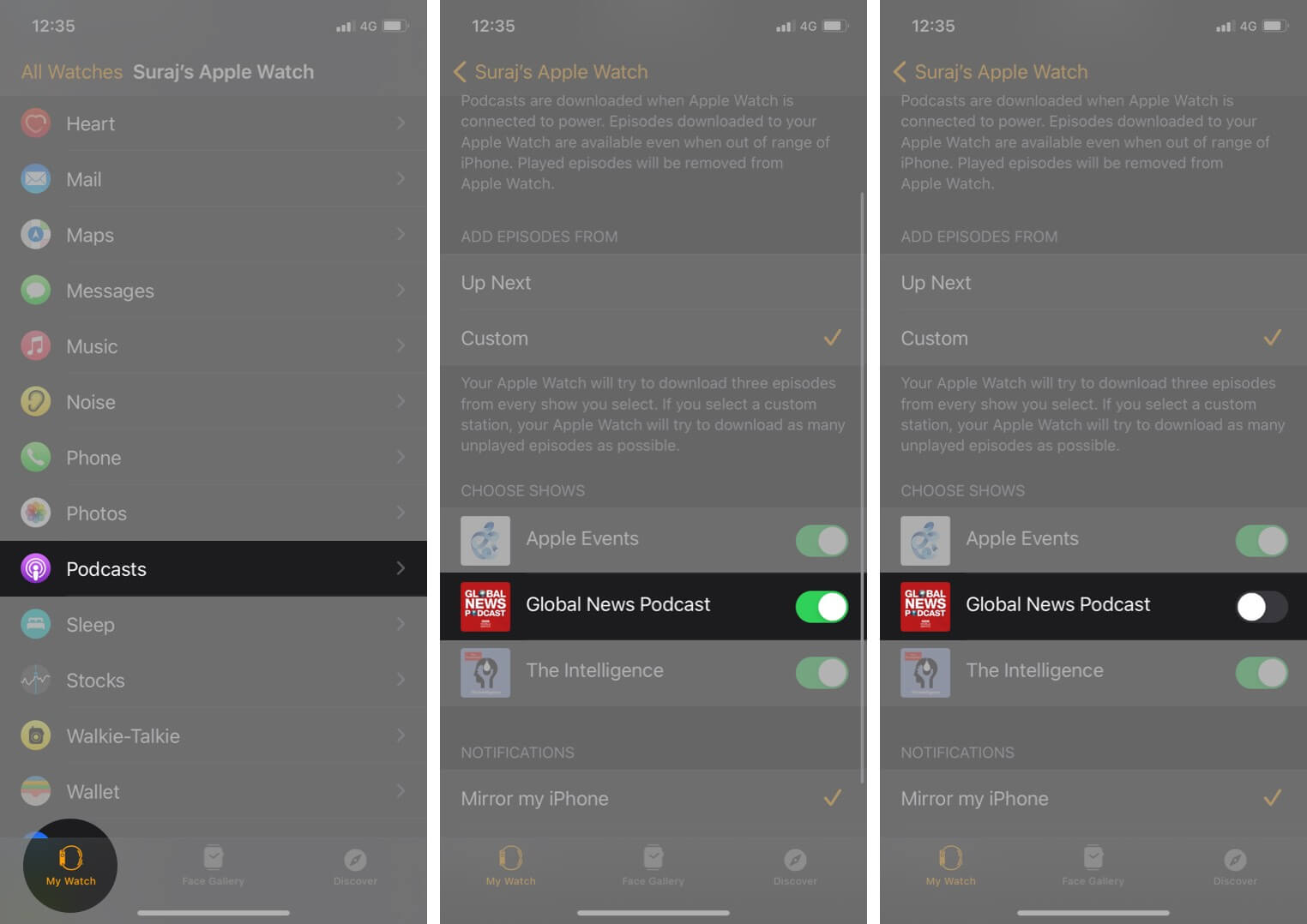 turn off podcast in watch app on iphone