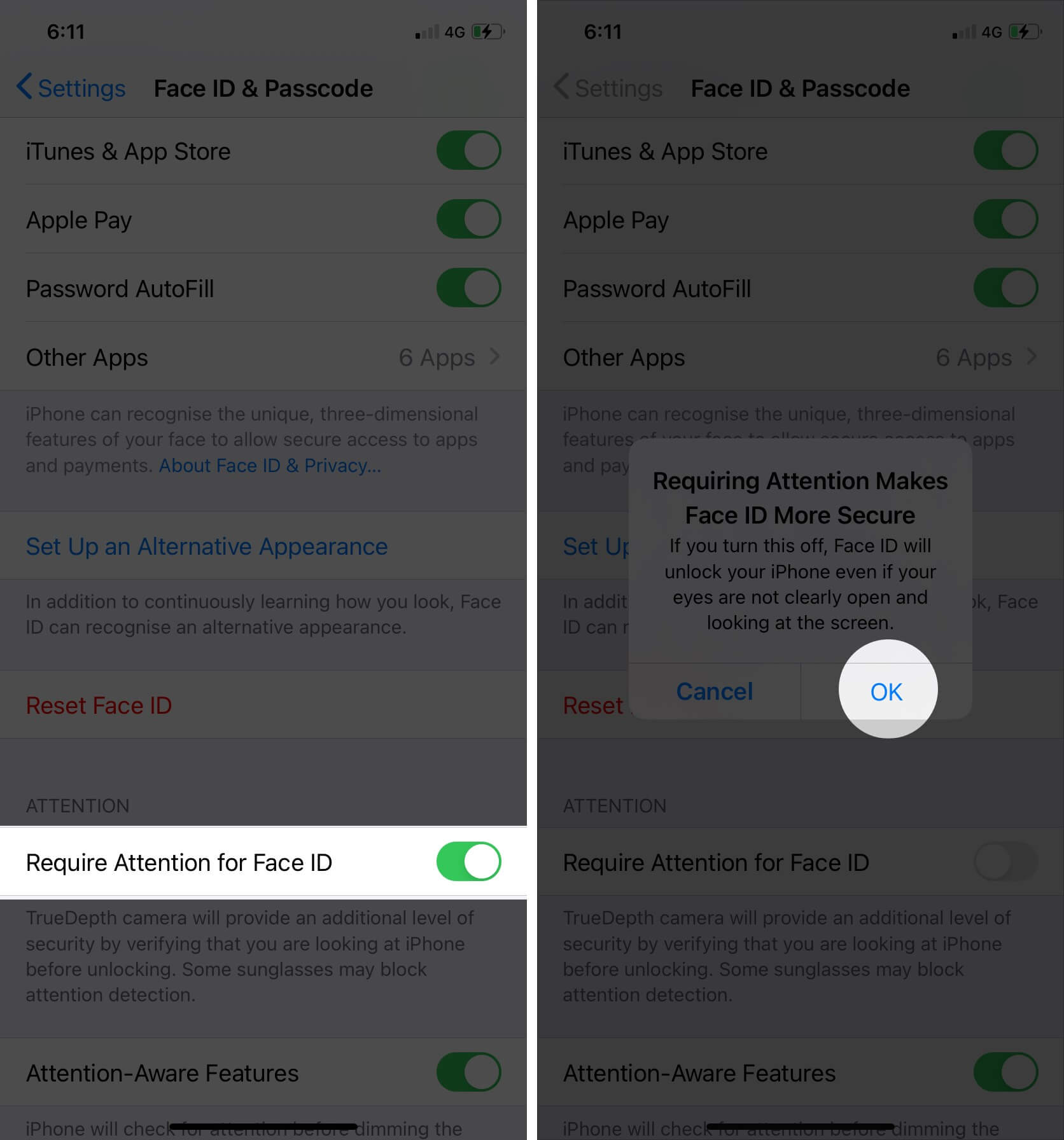 turn off require attention for face id