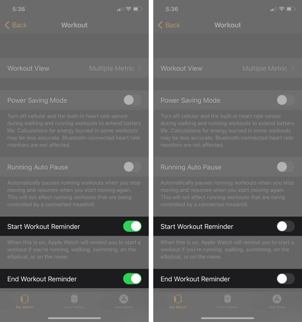turn off start workout and end workout reminders to disable workout detection on iphone
