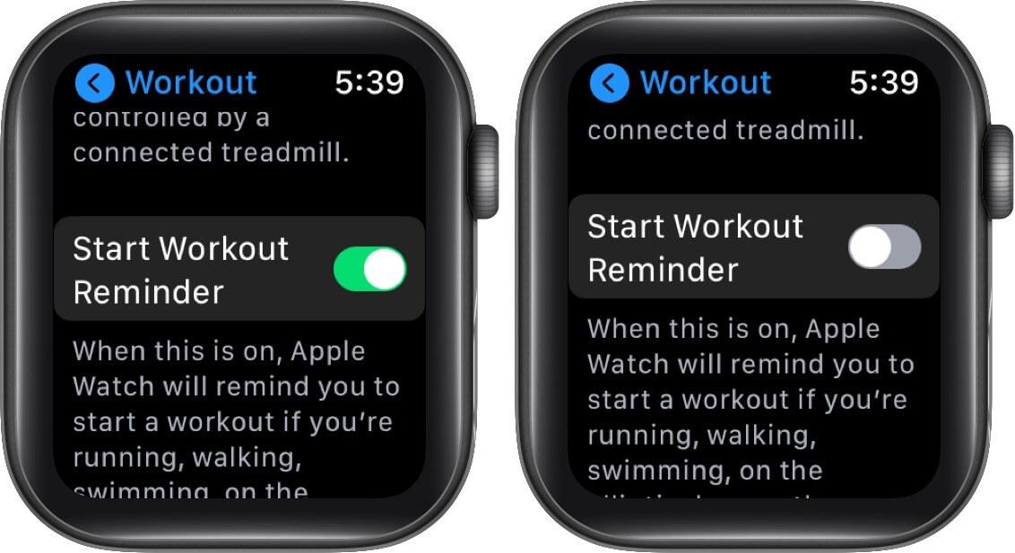 turn off start workout reminder on apple watch