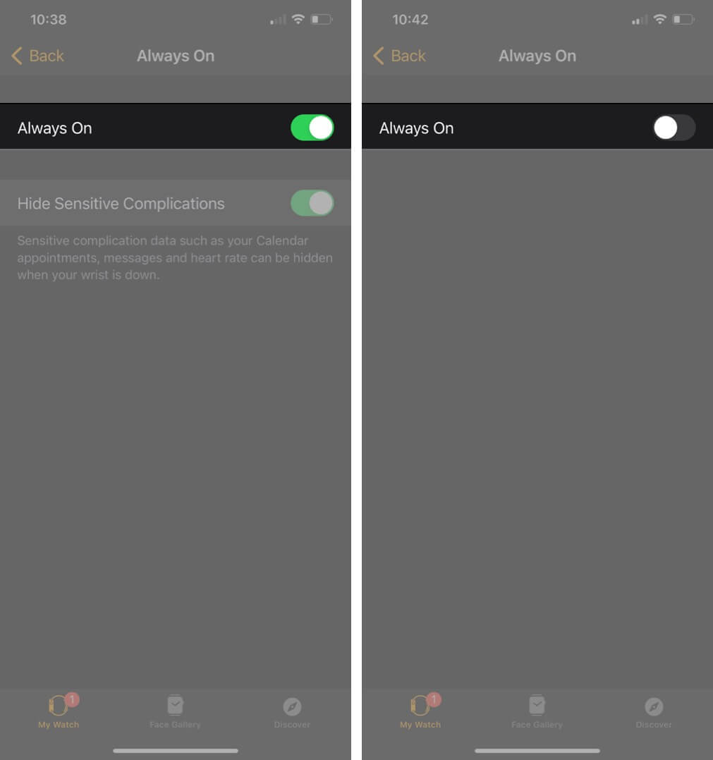 turn off toggle to disable always on display in watch app on iphone