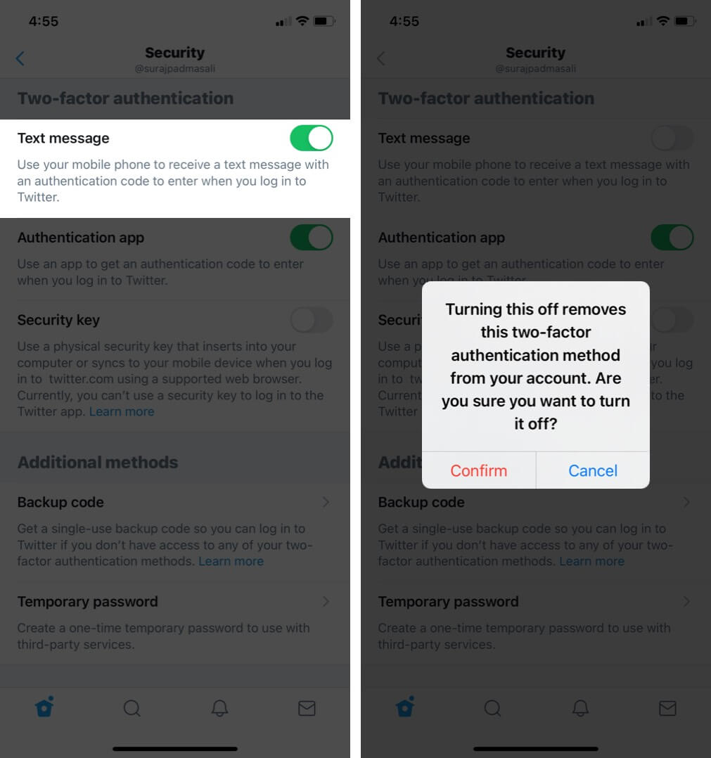 Turn off Two-Factor Authentication for Twitter on iPhone