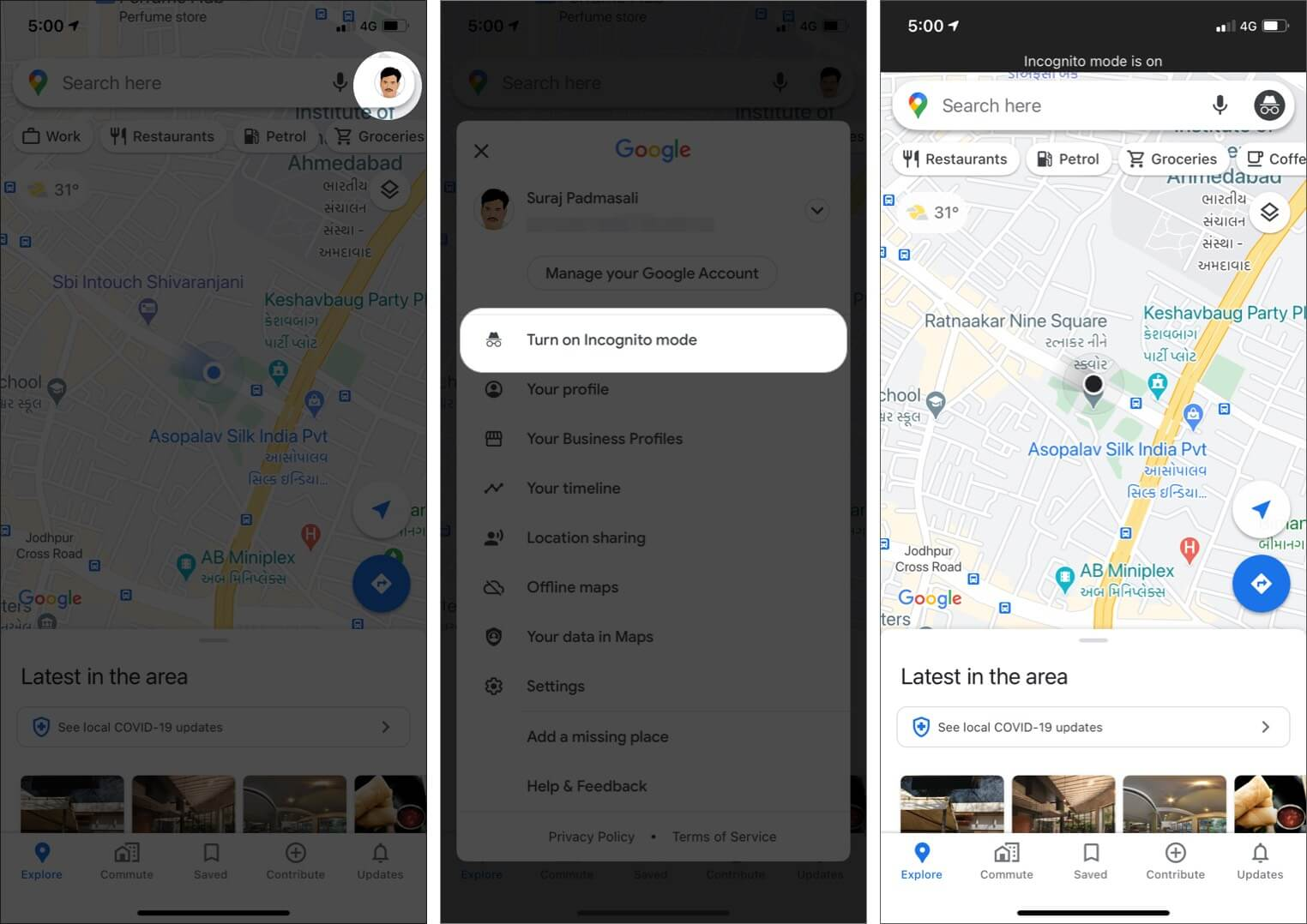 turn on Google Maps Incognito mode on iPhone