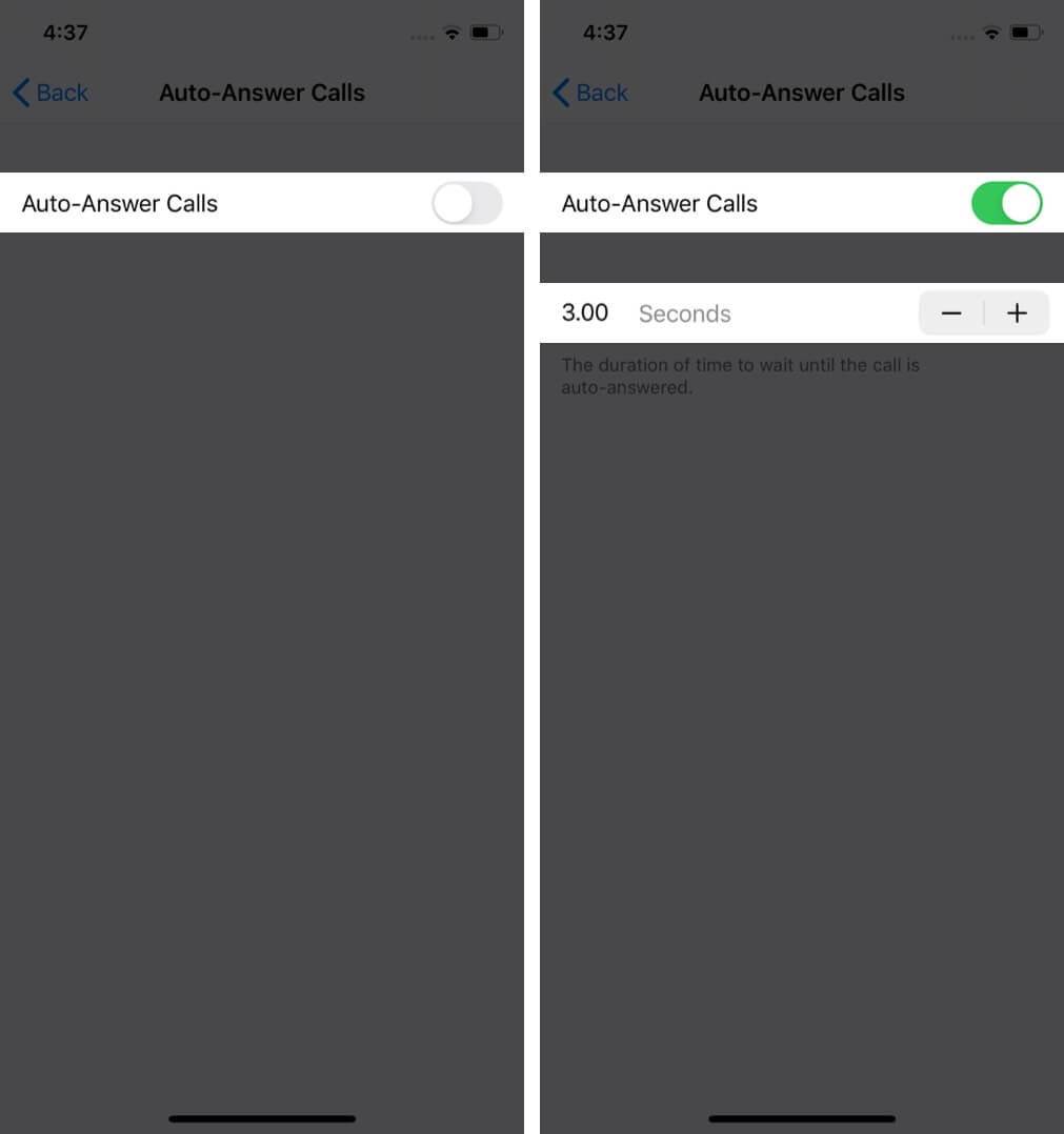 turn on auto-answer calls and set wait-time on iphone