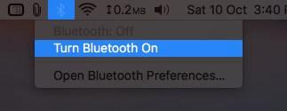 Turn On Bluetooth from Top Menubar on Mac
