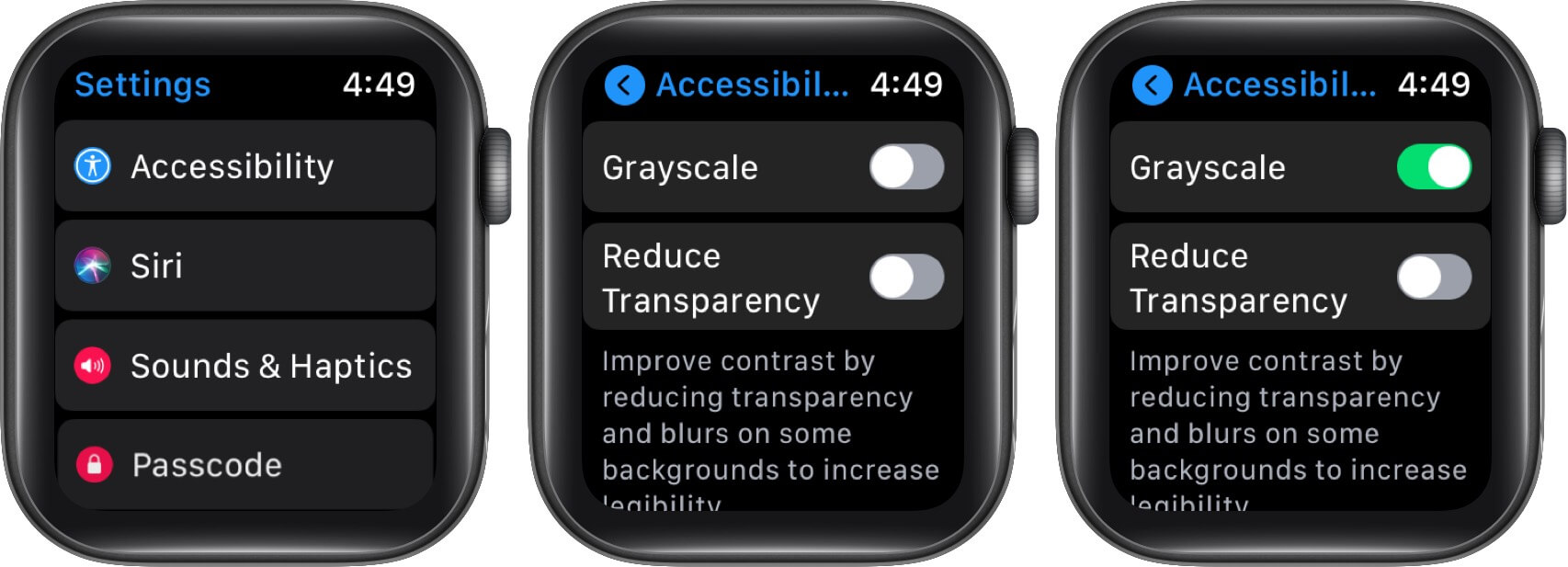 Turn On Grey Scale to Change Color of Nightstand Mode on Apple Watch