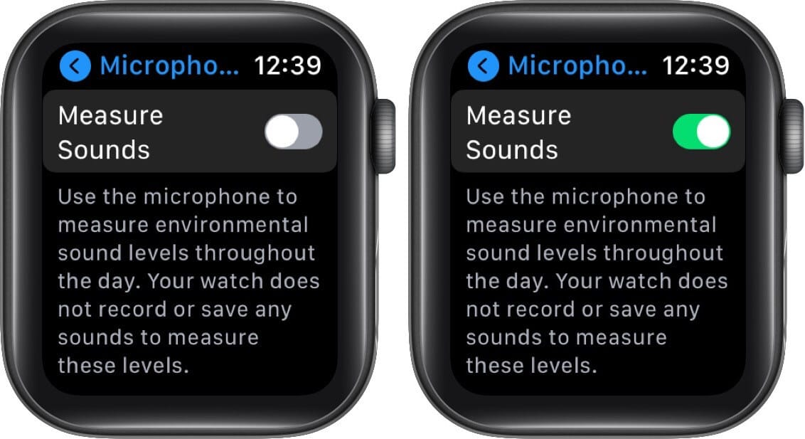turn on measure sound to enable microphone on apple watch