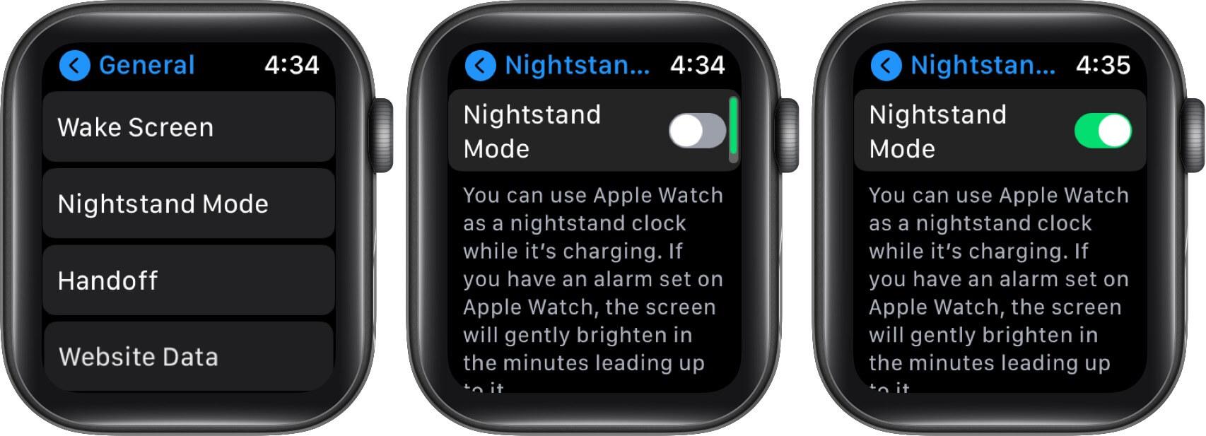 Turn ON Nightstand Mode on Apple Watch