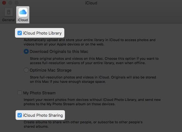Turn ON Options in iCloud Tab to Enable iCloud Photos on Mac