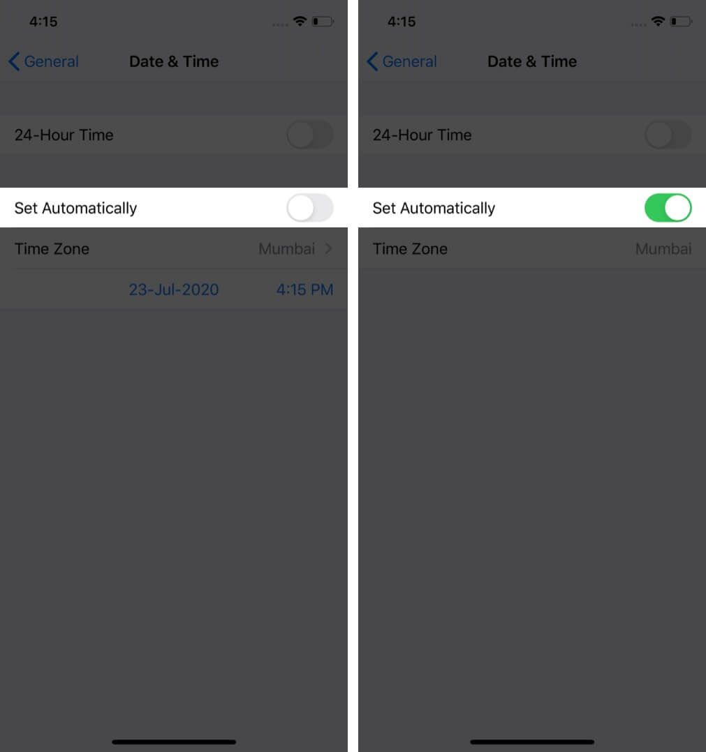 turn on set date and time automatically on iphone