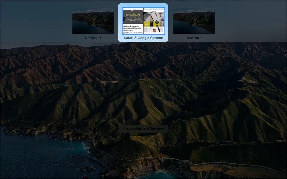 turn on split screen using mission control on mac