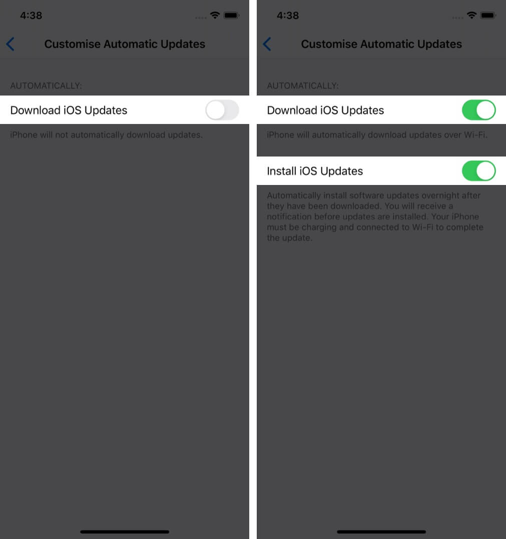 turn on toggles for download and install ios updates to automatically update iphone