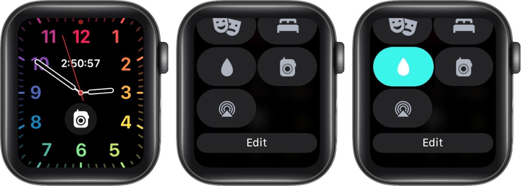 turn on water lock on apple watch