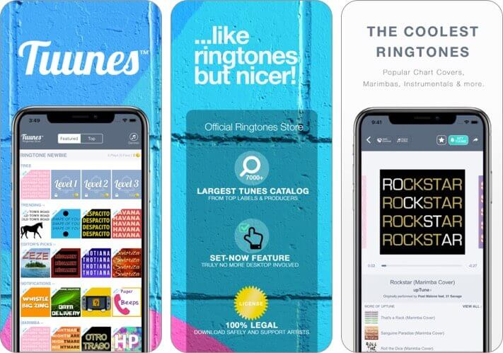 tuunes ringtones for iphone app screenshot