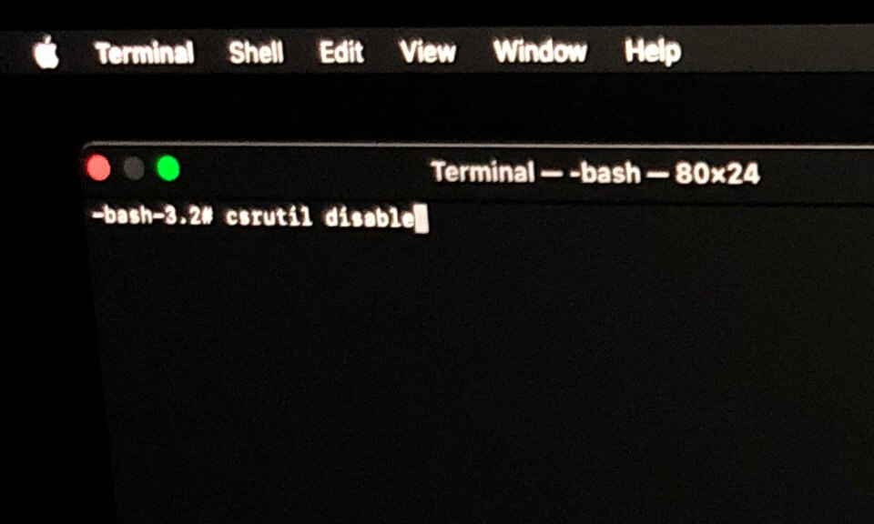 type csrutil disable command in terminal on mac