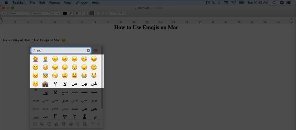 type emojis on mac