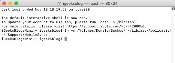 Type Final Command in Terminal to Change iPhone Backup Folder Location in macOS