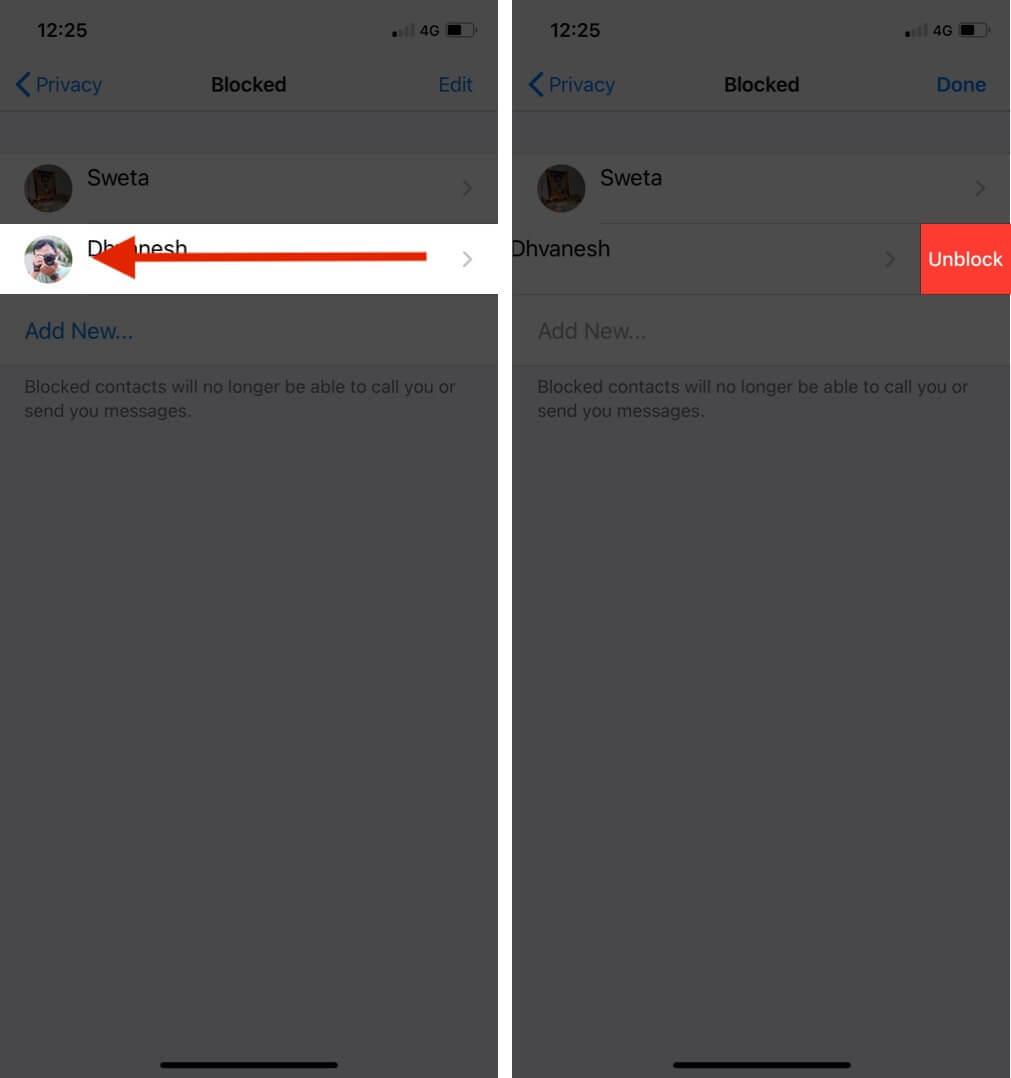 unblock contact via whatsapp settings on iphone