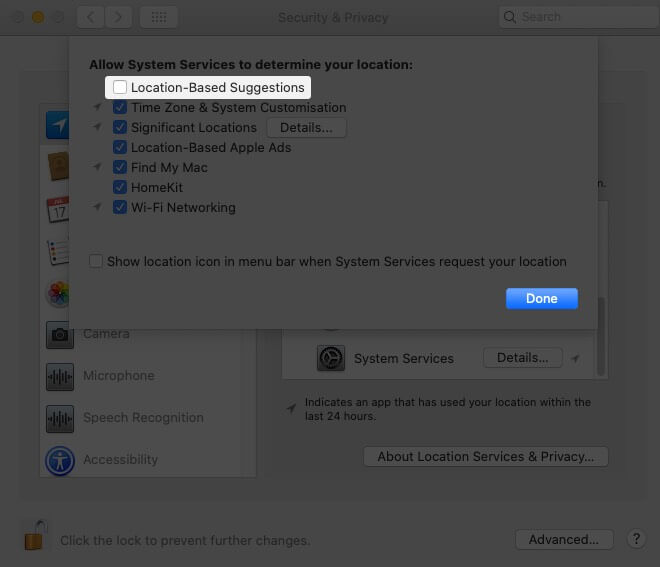 Uncheck Location-Based Suggestion to Disable Location Services for Spotlight Suggestions on Mac