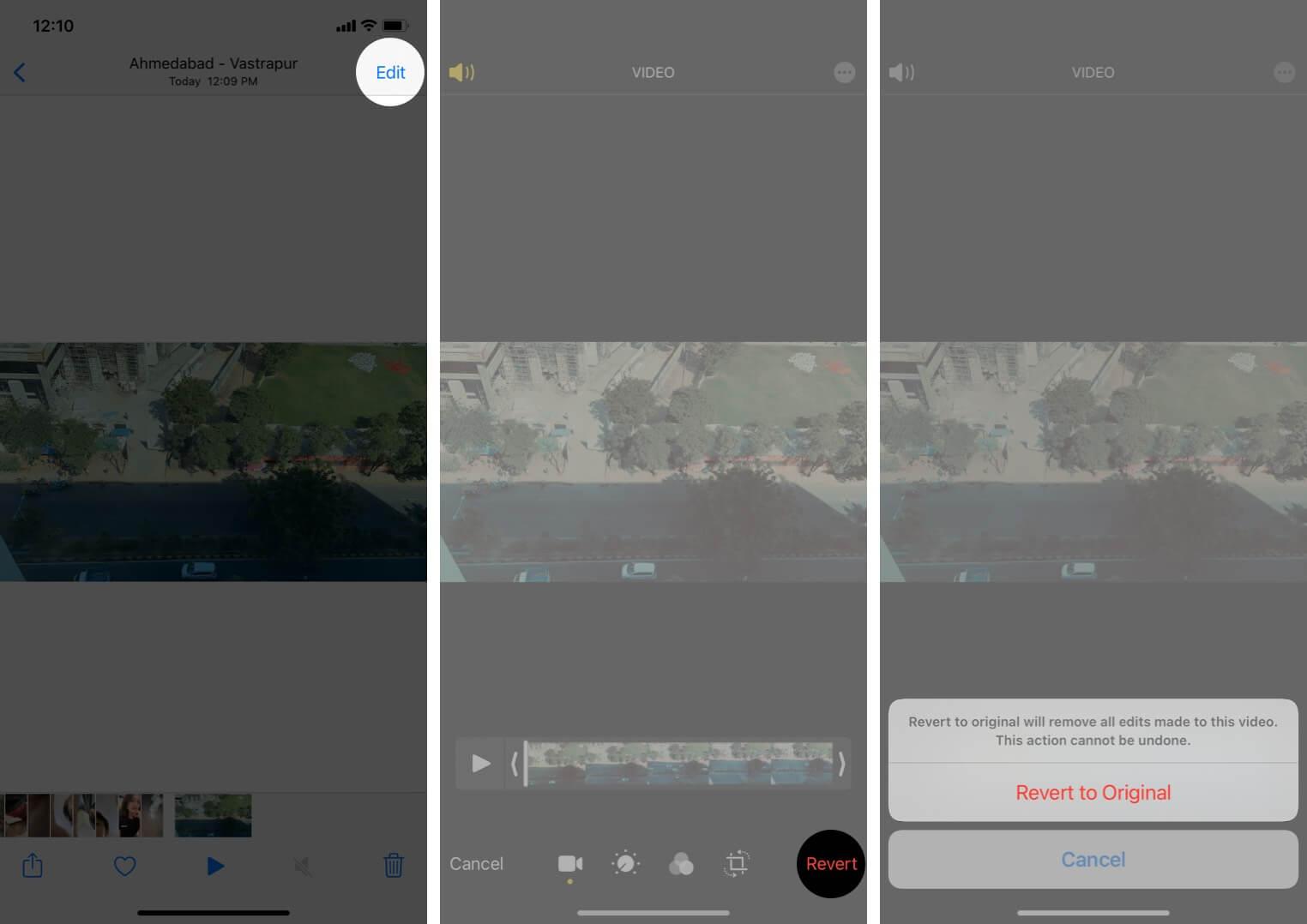Undo Filter Applied on Video on iPhone
