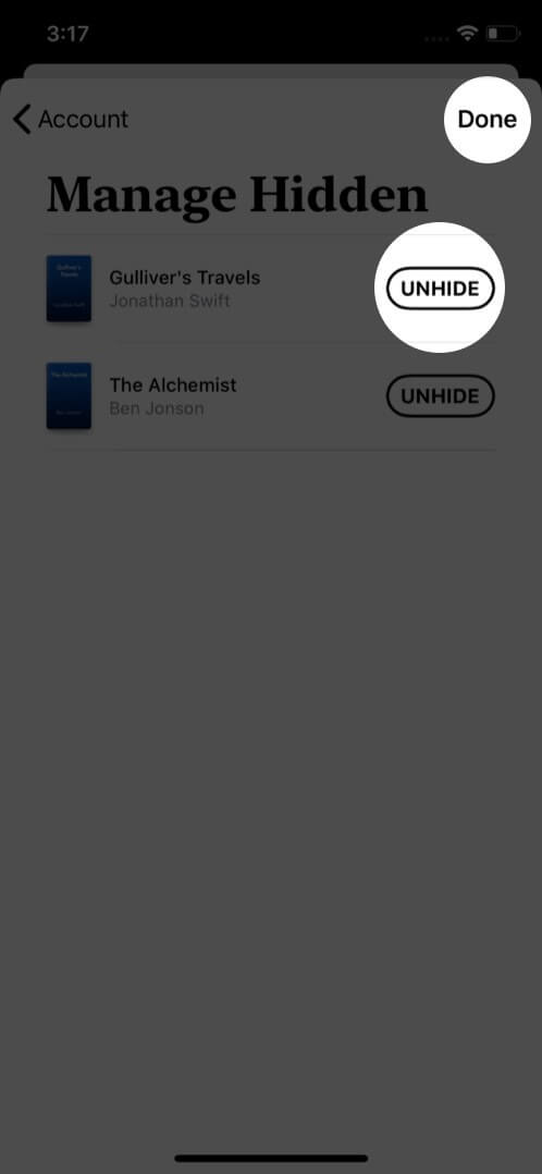 unhide books from books app on iphone