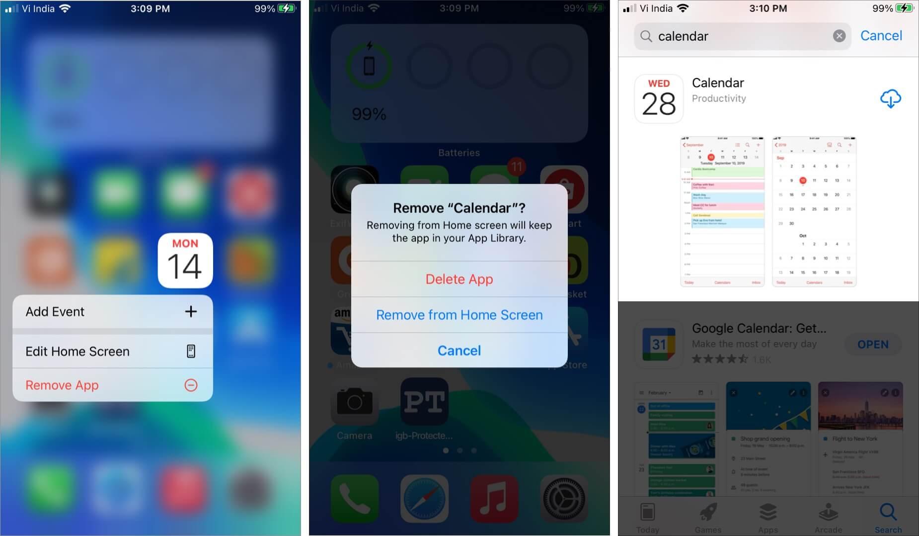 Uninstall and Reinstall Calendar App on iPhone