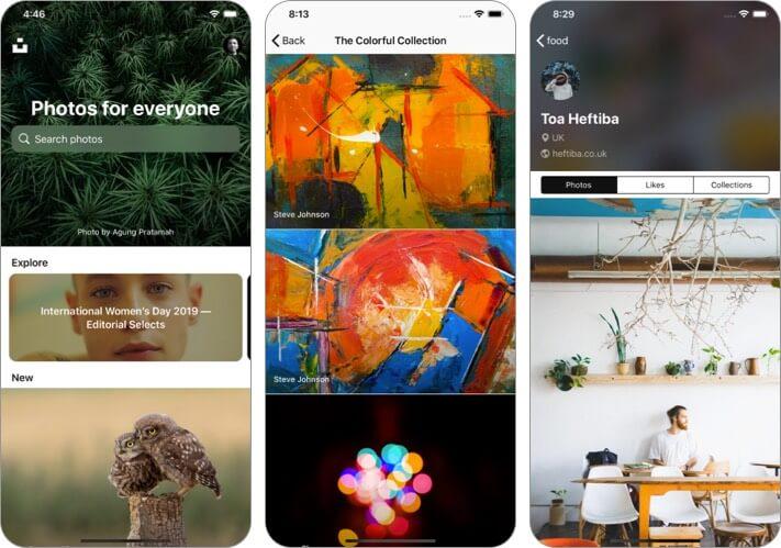 Unsplash iPhone and iPad Wallpaper App Screenshot