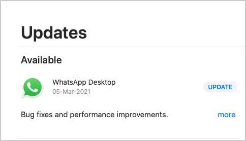 Update WhatsApp app on Mac
