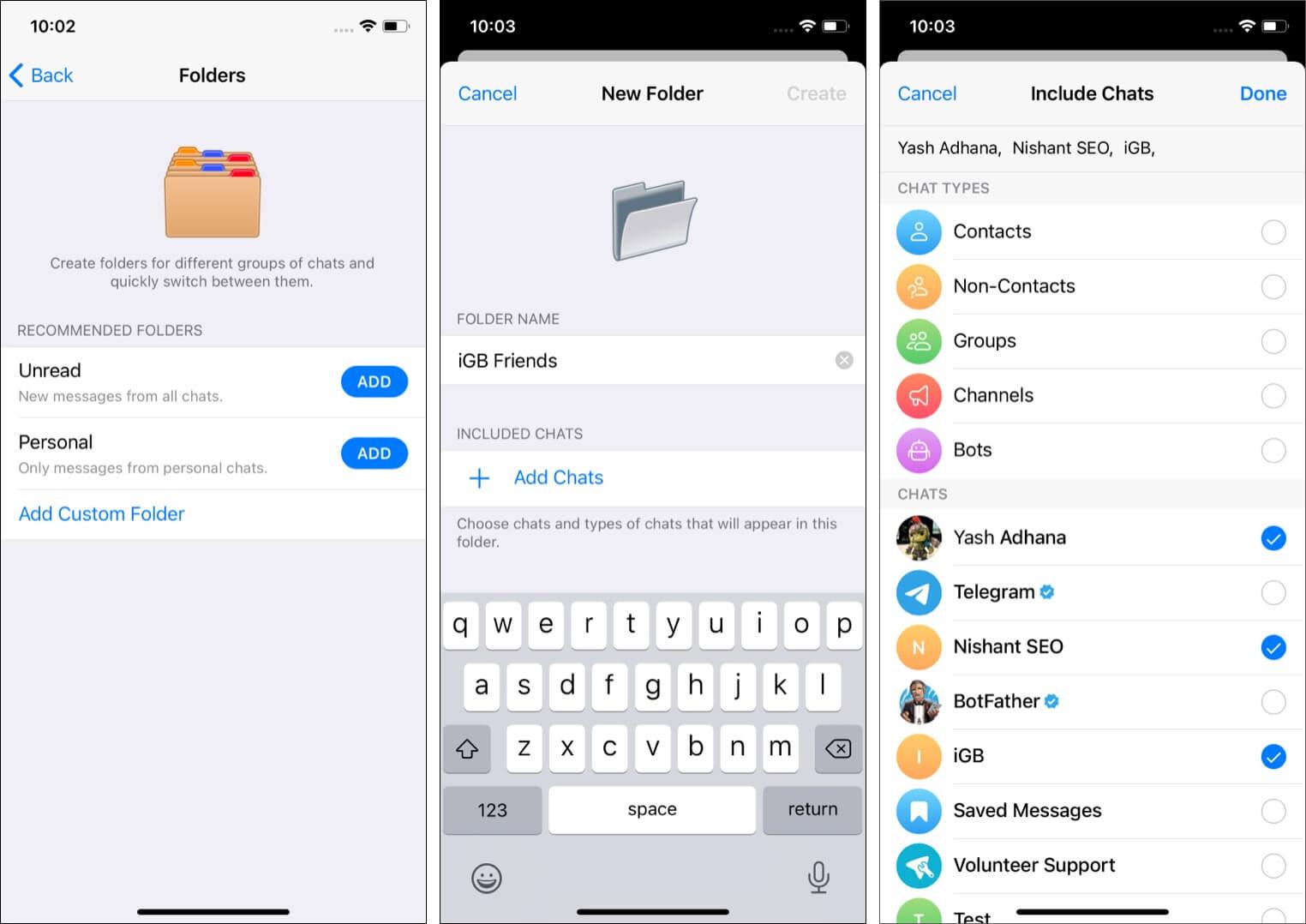 Use chat folders to organize Telegram chats